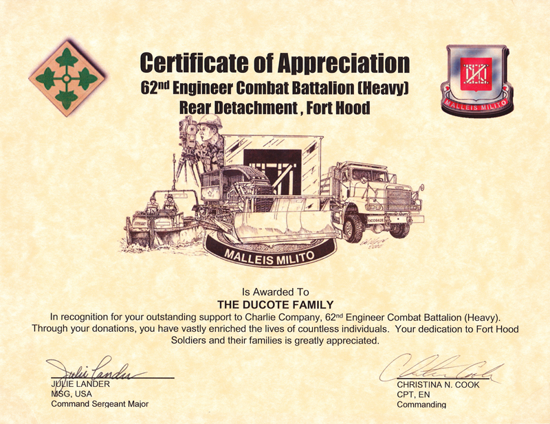 Certificates. Certificate Of Appreciation  Army Certificate Of Appreciation